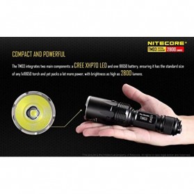 NITECORE TM03 Tiny Monster Senter LED CREE XHP70 2800 Lumens - Black - 4