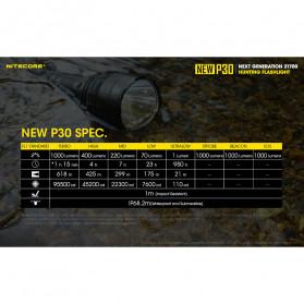 NITECORE New P30 Senter LED Cree XP-L HI V3 1000 Lumens - Black - 9