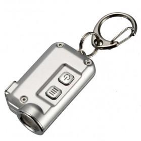 NITECORE Tini Senter LED CREE XP-G2 S3 380 Lumens USB Rechargeable Keychain - Silver