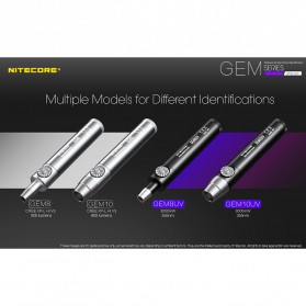 Nitecore GEM10UV Senter Indentifikasi Batu Mulia Gemstone Ultraviolet 3000mW - Black - 2