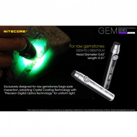 Nitecore GEM10UV Senter Indentifikasi Batu Mulia Gemstone Ultraviolet 3000mW - Black - 4