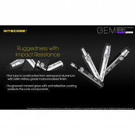 Nitecore GEM10UV Senter Indentifikasi Batu Mulia Gemstone Ultraviolet 3000mW - Black - 7