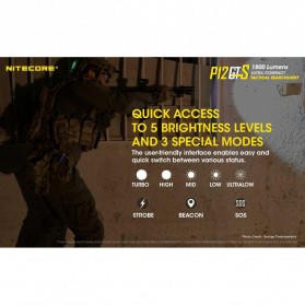 NITECORE P12GTS Senter LED CREE XHP35 HD 1800 LUMENS - Black - 5