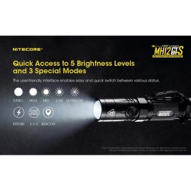 NITECORE MH12GTS Senter LED CREE XHP35 HD 1800 LUMENS - Black - 8
