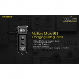 NITECORE TUP Senter LED Mini USB Rechargeable Cree XP-L HD V6 1000 Lumens - Gray - 9