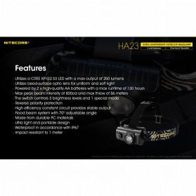 NITECORE HA23 Headlamp Senter Kepala LED CREE XP-G2 S3 250 Lumens - Black - 6