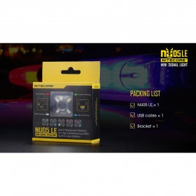 NITECORE NU05 LE Lampu Sinyal LED Mini Headlamp USB Rechargeable 20 Lumens - Black - 6