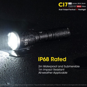 NITECORE CI7 Senter LED Tactical Flashlight With Infrared CREE XP-G3 S3 LED 2500 White Lumens - Black - 5