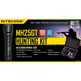 NITECORE MH25GTS Hunting Kit Senter LED CREE XHP35 HD 1800 LUMENS - Black - 2