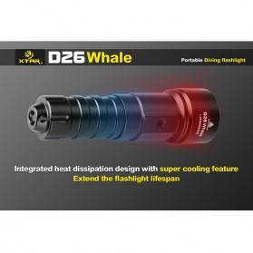 Xtar Whale D26 Diving Waterproof Senter LED CREE XM-L2 U3 1100 Lumens - Black - 6