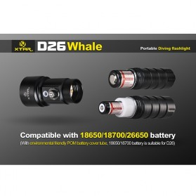 Xtar Whale D26 Diving Waterproof Senter LED CREE XM-L2 U3 1100 Lumens - Black - 7