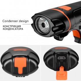 Rockbros Lampu Sepeda USB Rechargeable 2000mAh 300 Lumens - HL1704 - Black - 2
