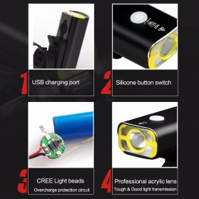 GACIRON Lampu Sepeda LED Cree XPG 400 Lumens - V9C - Black - 12