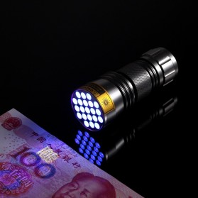 TaffLED Senter Ultraviolet 400nm 21 LED - UV-21 - Silver - 5