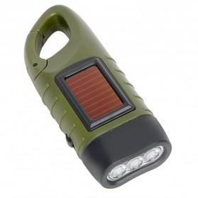 TaffLED Senter Mini Profesional Tenaga Solar & Kinetik Cranking Hand - 90FL1-BV1 - Green