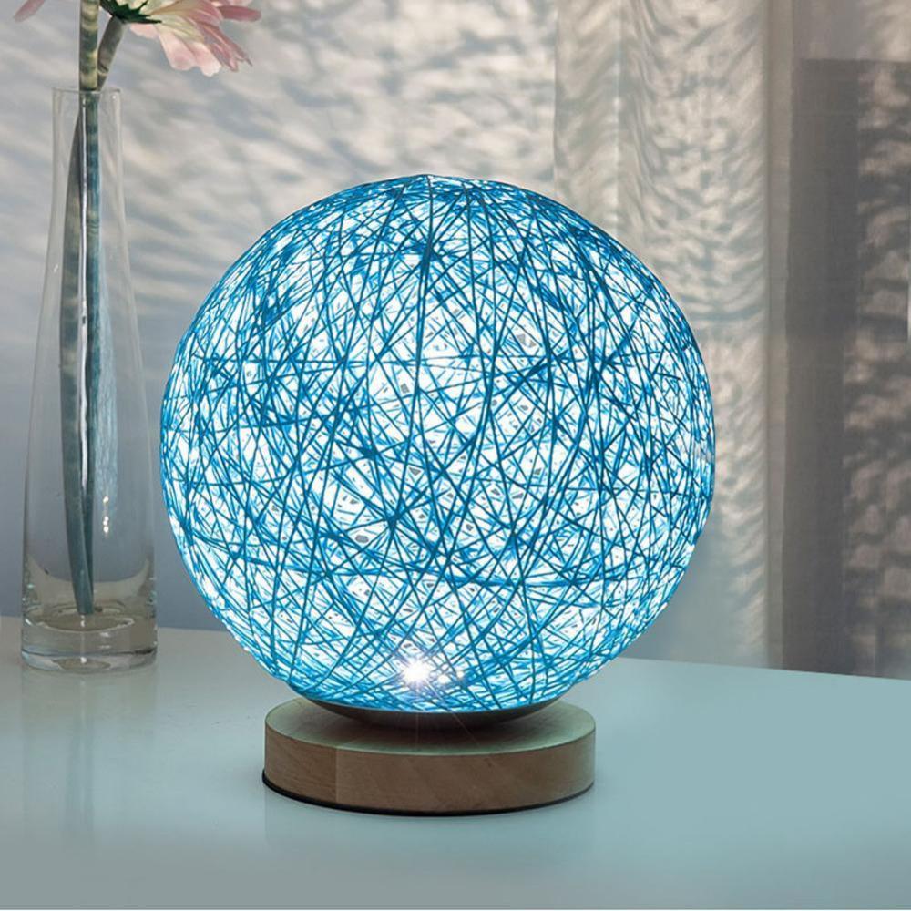 LED Lampu Hias Kayu Rotan - Blue - 1
