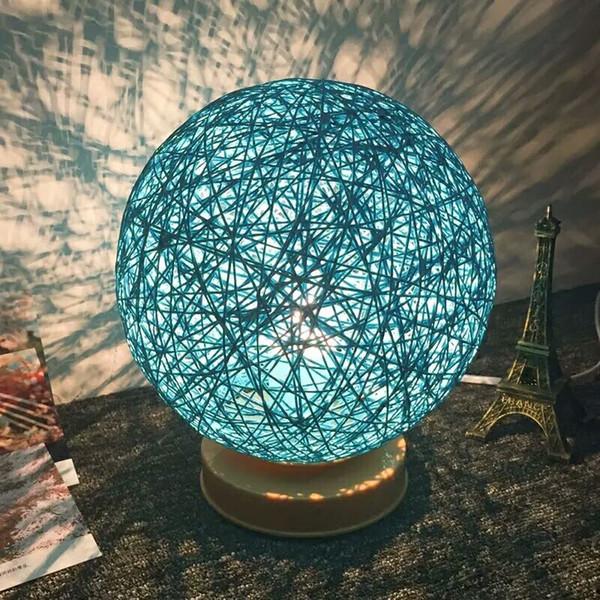 LED Lampu Hias Kayu Rotan - Blue - 2