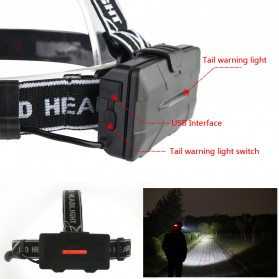 TaffLED Headlamp Cree 4x XML T6 + 2x COB 30000 Lumens Flashlight - 2504A - Black - 4