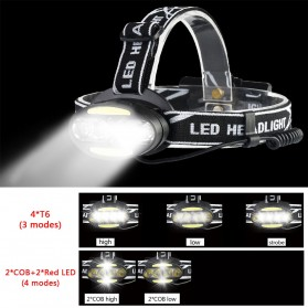 TaffLED Headlamp Cree 4x XML T6 + 2x COB 30000 Lumens Flashlight - 2504A - Black - 12