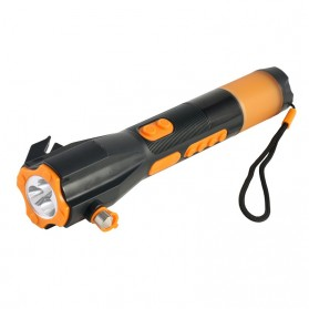 OkayLight Multifunctional Emergency Flashlight with Speaker and Compass - XLN-703 - Black
