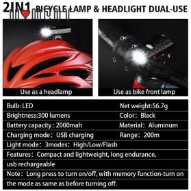 WEST BIKING Lampu Sepeda LED Rechargeable 300 Lumens - B1 - Black - 4