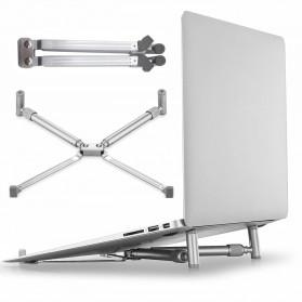 Universal X Stand Folding Holder Cooling Pad Laptop 17 Inch - F2056 - Silver