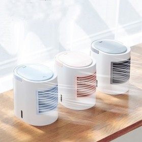 KBAYBO Kipas Cooler USB Oval Mini Air Conditioner 350ml with 7 Color LED Light - WT-F11 - Gray - 2