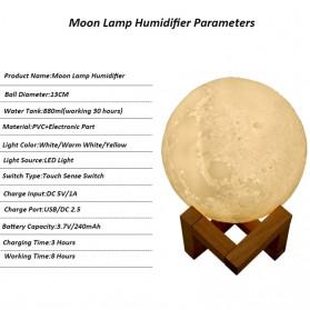 Taffware Air Humidifier Aromatherapy Oil Diffuser Lampu Tidur Simulation 3D Moon Night Light Ultrasonic - Humi AX-08 - White - 6