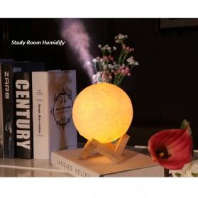 Taffware Air Humidifier Aromatherapy Oil Diffuser Lampu Tidur Simulation 3D Moon Night Light Ultrasonic - Humi AX-08 - White - 9