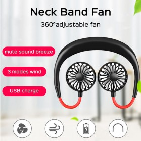 SZKOSTON Kipas Angin Sport Adjustable Hanging Neck Fan Hand USB Portable - 4N45799 - Black - 1
