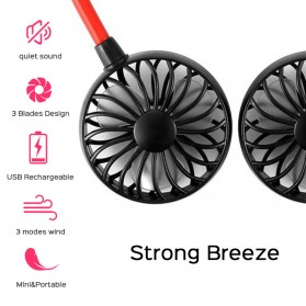 SZKOSTON Kipas Angin Sport Adjustable Hanging Neck Fan Hand USB Portable - 4N45799 - Black - 2
