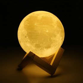 LightMe Lampu Tidur 3D Printed Moon Night Light Table Rechargeable Lamp 18CM - 3DPML - White