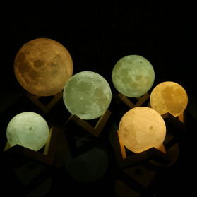 LightMe Lampu Tidur 3D Printed Moon Night Light Table Rechargeable Lamp 18CM - 3DPML - White - 3