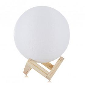 LightMe Lampu Tidur 3D Printed Moon Night Light Table Rechargeable Lamp 18CM - 3DPML - White - 4