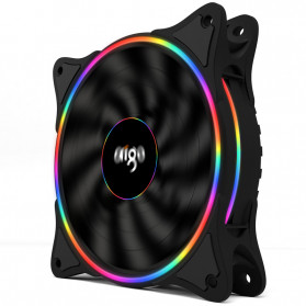Aigo V1 CPU Fan Cooler Cooling Case Rainbow RGB LED 120mm - Black - 2