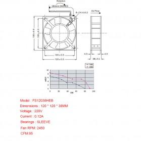 KunPeng Kipas Heatsink CPU Fan 120mm 220V 0.14A - 12038 - Black - 2