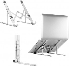 Docooler Laptop Stand Lipat Aluminium Foldable Adjustable 7 Level - N7 - Silver
