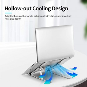 Docooler Laptop Stand Lipat Aluminium Foldable Adjustable 7 Level - N7 - Silver - 2
