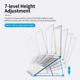 Docooler Laptop Stand Lipat Aluminium Foldable Adjustable 7 Level - N7 - Silver - 6