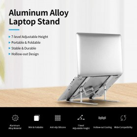 Docooler Laptop Stand Lipat Aluminium Foldable Adjustable 7 Level - N7 - Silver - 7