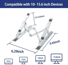 OUTMIX Laptop Stand Aluminium Foldable Adjustable 7 Height - LSP7 - Silver - 6