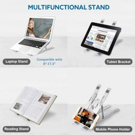 OUTMIX Laptop Stand Aluminium Foldable Adjustable 7 Height - LSP7 - Silver - 7