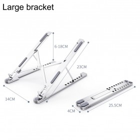 FGH Laptop Stand Aluminium Foldable Adjustable 14-17.3 Inch - P4 - Silver - 5