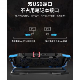 MC Cooling Pad Laptop 5 Fan - Q7 - Black/Blue - 4
