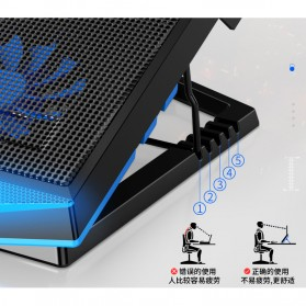 MC Cooling Pad Laptop 5 Fan - Q7 - Black/Blue - 7