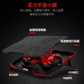 ICE COOREL Cooling Pad Laptop Stand 5 Kipas - A2 - Black/Red - 3