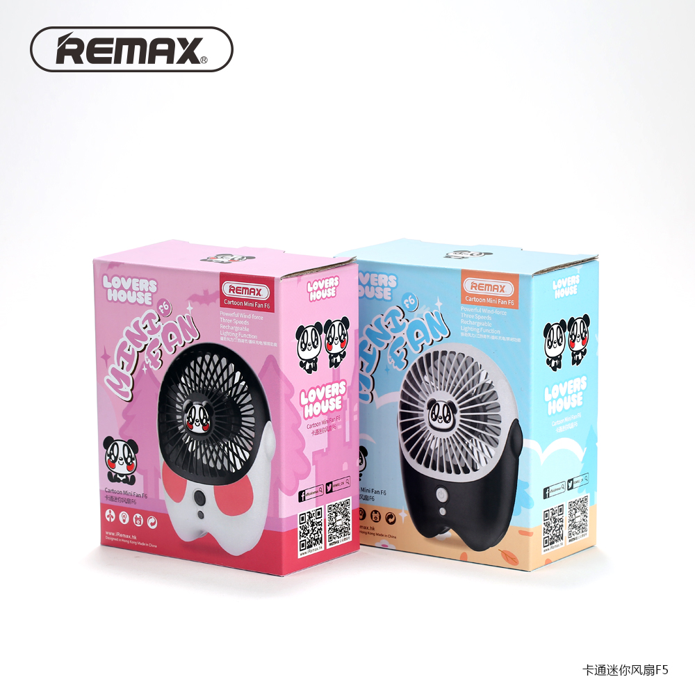 Remax Kipas Angin Mini Kartun Usb Rechargeable Fan Portable Fortable F6 White 5