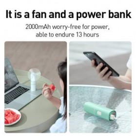 Baseus Kipas Angin USB Portable Mini Cooling Fan with Powerbank 2000mAh - CXZD-B02 - White - 8