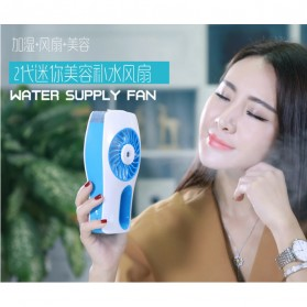 Portable Handheld Mini Beauty Replenishment Fan with Water Spray - 20160401 - Blue - 7
