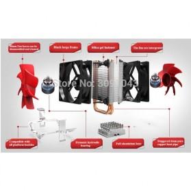 PcCooler Mini CPU Heatsink 2 Heatpipe with 2 Fan 80mm - HS115 - Black/Red - 3